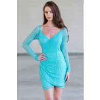 Jade Green Lace Bodycon Dress, Cute Lace Cocktail Dress For Juniors