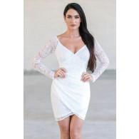 White Lace Cocktail Dress Online, Lace Juniors Party Dress