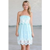 Flower Patch Embroidered Strapless Dress in Sky