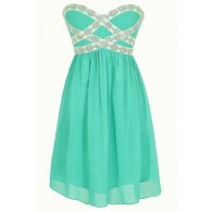 Sparkling Splendor Embellished Chiffon Designer Dress by Minuet in Teal
