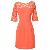 Something Extra Crochet Lace Neckline Dress in Orange Coral