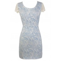 Finest China Blue and White Lace Sheath Dress