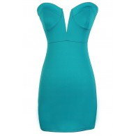 Heartbreaker Plunging Neckline Teal Bustier Dress