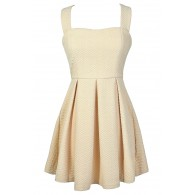 Sugar Cookie Beige Fit and Flare Dress
