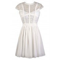 Capsleeve Lace Top Dress With Contrast Ribbon Overlay in Ivory
