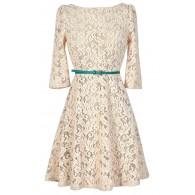 Family Gathering Beige Lace Belted Designer Dress