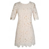 Beige Lace Dress, Beige Lace Sheath Dress, Ivory Lace Dress, Ivory Lace Sheath Dress, Ivory Floral Lace Dress, Cute Rehearsal Dinner Dress, Ivory Lace Rehearsal Dinner Dress, Ivory Lace Bridal Shower Dress, Floral Lace Dress, Off White Lace Dress