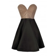 Beige and Black Dress, Black and Beige Party Dress, Black and Beige Leatherette Dress, Colorblock Strapless Dress, Taupe and Black A-Line Dress, Beige and Black A-Line Dress, Taupe and Black Cocktail Dress