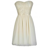 Creme Brulee Sequin Embellished Dress in Ivory