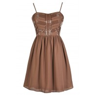 Just Bead It A-Line Dress in Mocha