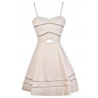 Simply Chic Fabric Piping A-Line Dress in Beige