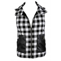 Black and Ivory Plaid Vest, Black and White Plaid Vest, Cute Fall Vest, Cute Winter Vest