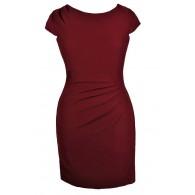 Cute Plus Size Dress, Plus Size Pencil Dress, Plus Size Work Dress, Plus Size Sheath Dress, Burgundy Plus Size Dress, Burgundy Plus Size Pencil Dress, Burgundy Plus Size Work Dress