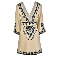Black and Beige Caftan, Cute Summer Dress, Black and Beige Embroidered Dress, Cute Coverup, Swimwear Coverup, Cute Caftan Dress