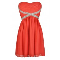 X Marks The Spot Embellished Chiffon Dress in Coral