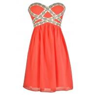 Sparkling Splendor Embellished Chiffon Designer Dress by Minuet in Pink Coral