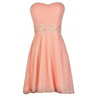 Playing Our Song Strapless Dress in Pink