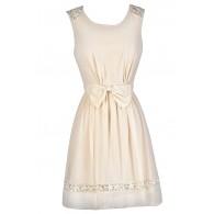 Cute Beige Dress, Beige Bow Dress, Beige A-Line Dress, Beige Summer Dress, Beige Party Dress, Cute Beige Dress