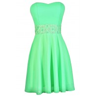 Playing Our Song Strapless Dress in Bright Green
