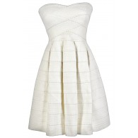 Belle of The Soiree Textured Strapless Dress in Ivory