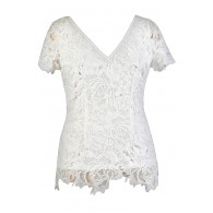 Cute Plus Size Top, White Lace Plus Size Top, Ivory Lace Plus Size Top, Cute Summer Top, Lace Summer Top, White Lace Top