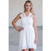 Cute White Summer Dress, White Sundress Online, Boutique Dresses