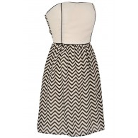 Wavelengths Chevron Contrast Dress in Ivory