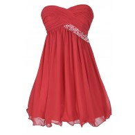 Trail of Stars Embellished Pleated Chiffon Party Dress in Red