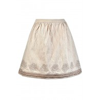Beige A-Line Skirt, Cute Beige Skirt, Beige and Bronze Skirt, Beige Embroidered Skirt, Cute Fall Skirt, Cute Summer Skirt, Metallic Embroidered Skirt, Cute Beige Skirt