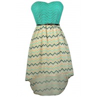 Cute Chevron Dress, Chevron High Low Dress, Teal Chevron Dress, Chevron Belted Dress, Chevron Party Dress