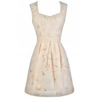 Beige Floral Pattern Dress, Cute Beige Dress, Beige Party Dress, Beige Rehearsal Dinner Dress