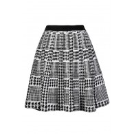 Black and White Houndstooth Skirt, Cute Houndstooth Skirt, Black and Ivory A-Line Houndstooth Skirt