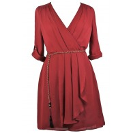 Cute Plus Size Wrap Dress, Burgundy Red Plus Size Dress, Cute Plus Size Dress, Plus Size Party Dress