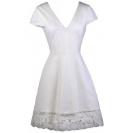 Cute Ivory Dress, Ivory Sundress, Ivory Summer Dress, Ivory Capsleeve A-Line Dress, Lace Trim Dress