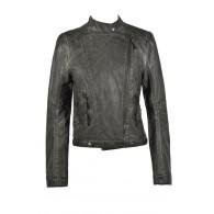 Grey Leatherette Jacket, Cute Fall Jacket, Grey Vegan Leather Jacket