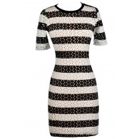 Online Boutique Dress, Black and White Pencil Dress, Lasercut Dress
