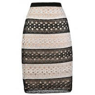 Lace pencil Skirt, Cute Juniors Skirt, Black and White Lace Skirt