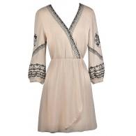 Beige and Black Embroidered Dress, Cute Summer Dress, Beige Wrap Dress