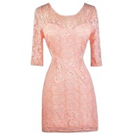 Pale Pink Lace Dress, Pink Lace Bodycon Dress, Cute Pink Dress