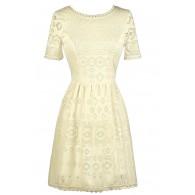 Off White Sundress, Cute Rehearsal Dinner Dress, Bridal Shower Dress