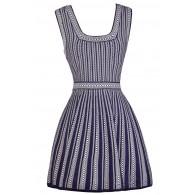 Purple and White Dress, A-Line Dress, Online Boutique Dress