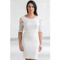 In Awe Of You Lace Pencil Dress in Ivory