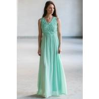 Dimiana Lace and Chiffon Maxi Dress in Sage