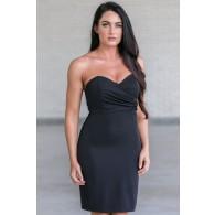 Cute Little Black Cocktail Dress, Strapless Black Bodycon Dress, Online Boutique Dress