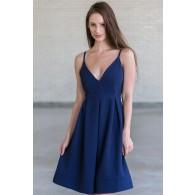 Cute Navy A-Line Midi Dress, Navy Online Boutique Dress, Cute Navy Summer Dress