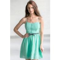Cute Mint Dress, Online Boutique Dress, Belted Mint Summer Dress, Mint Green Sundress