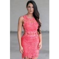 Secret Crush Crochet Lace and Mesh Dress in Watermelon