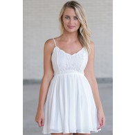 Cute Off White Lace Party Dress, Cute Summer Dress, Off White Lace Sundress