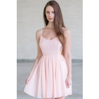 Pale Pink Lace Summer Dress, Pink Party Dress, Cute Pink Dress Online