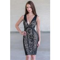 Black Lace Bodycon Cocktail Dress, Cute Black Lace Juniors Dress Online